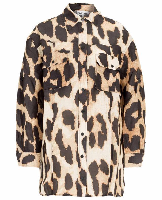 Leopard print linen and silk shirt GANNI