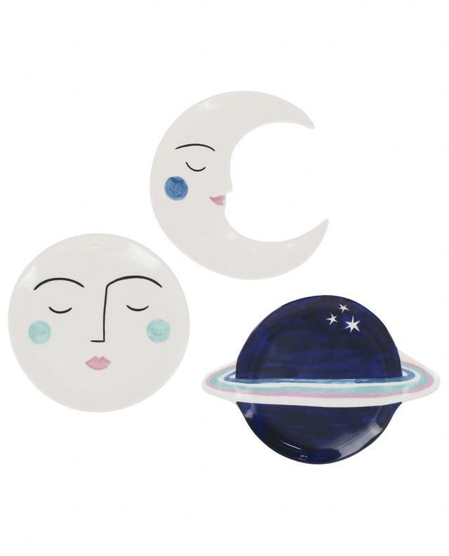 Set de trois assiettes décoratives planètes Lisa Junius KLEVERING