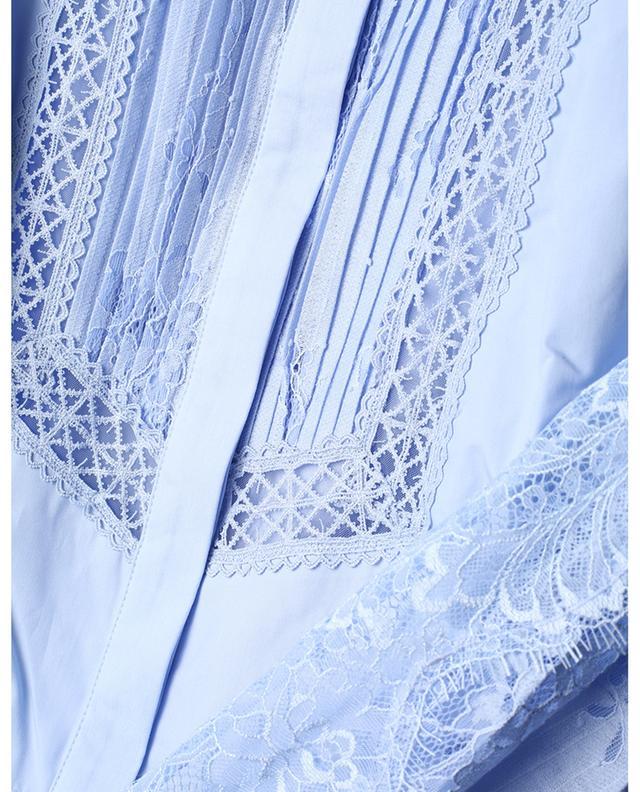 Robe chemise midi évasée en popeline et dentelle SELF PORTRAIT