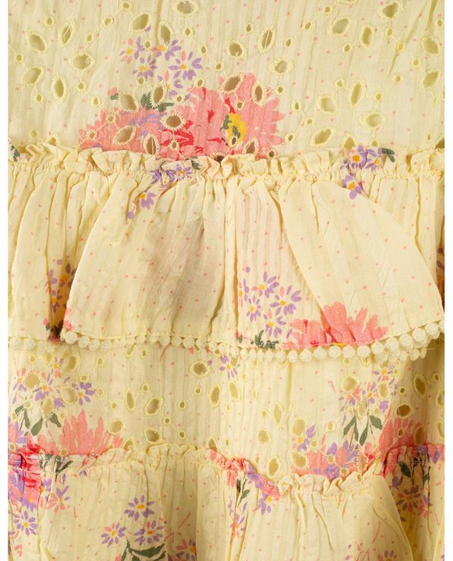 Mini-jupe évasée à volants en voile fleuri Bliss LOVESHACKFANCY