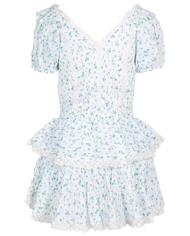 Mini-robe effet portefeuille en voile fleuri et dentelle Carlo LOVESHACKFANCY