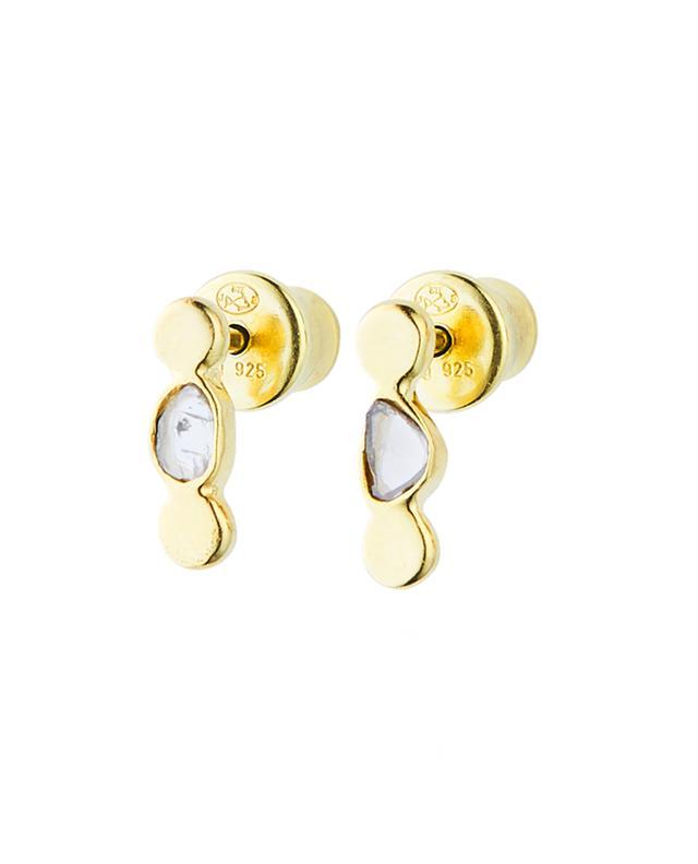 Goldene Tropfen-Ohrstecker mit Polki-Diamanten Luxume MARIE-LAURE CHAMOREL