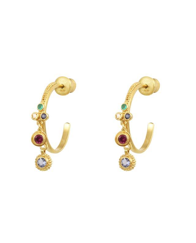 Goldene Creolen mit bunten Kristallen Luxume MARIE-LAURE CHAMOREL