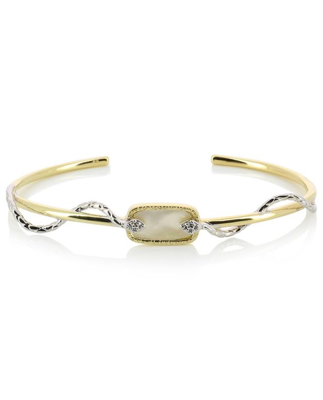 Sangha golden bangle with mother-of-pearl and zircon BE MAAD