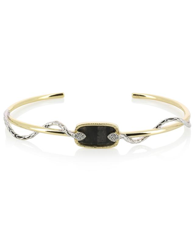 Sangha golden bangle with textured black onyx and zircon BE MAAD