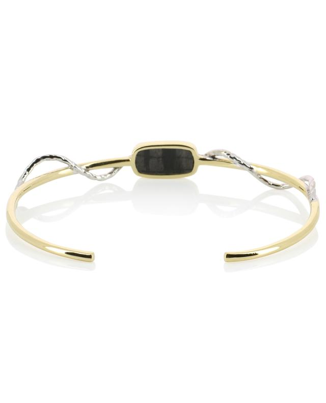 Sangha golden bangle with textured black onyx and zircon BE MAAD