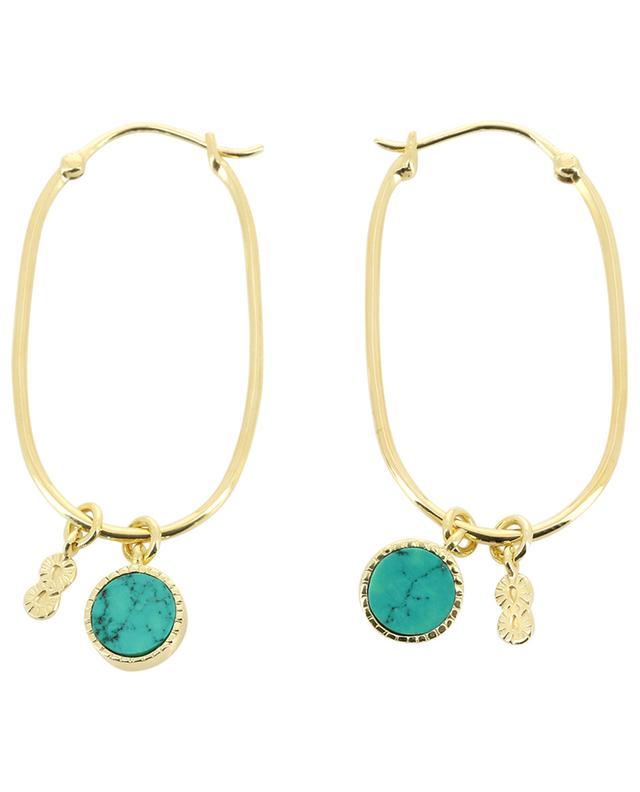 Créoles ovales dorées avec turquoise Arya BE MAAD