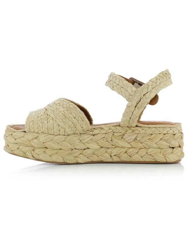 Sandales compensées en raphia tressé et cuir Aida3 CLERGERIE