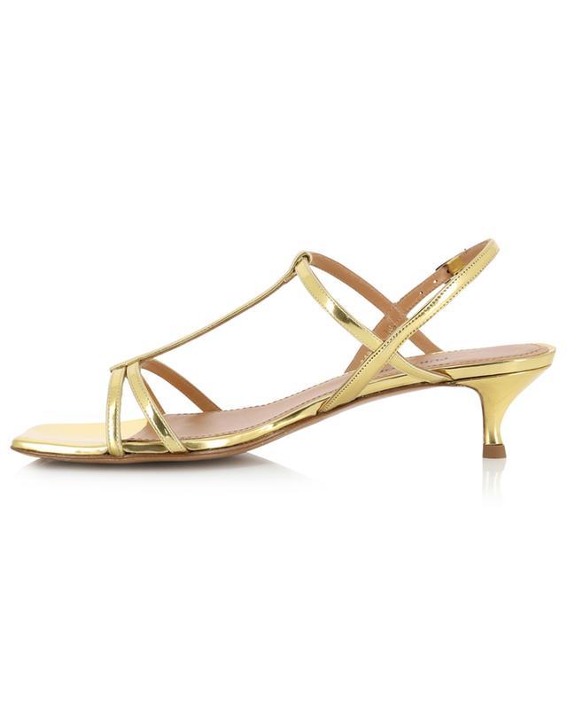 Sandales à petit talon en cuir métallisé effet miroir à bout carré PURA LOPEZ