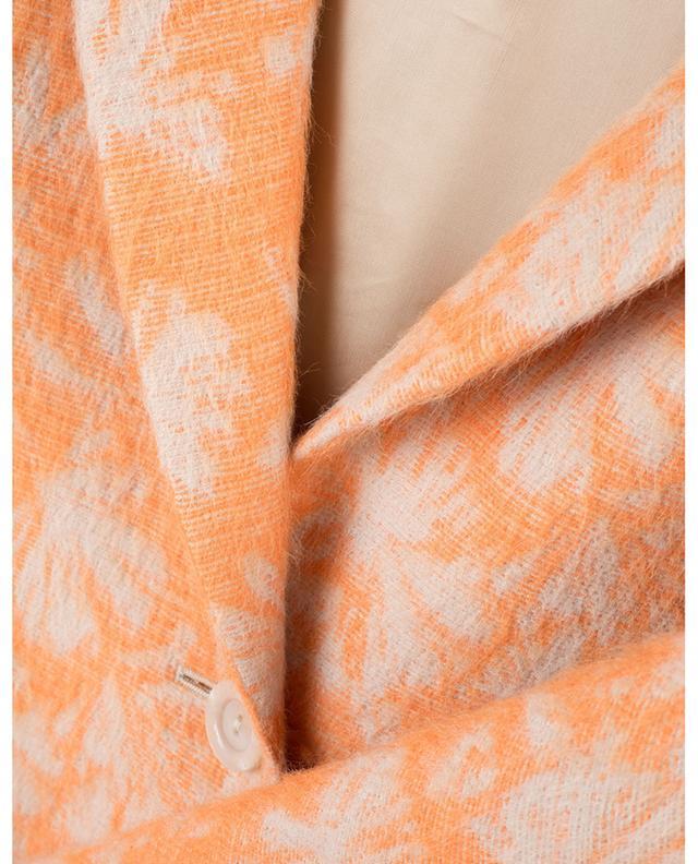 Manteau court léger en alpaga et soie imprimé feuilles CINZIA ROCCA