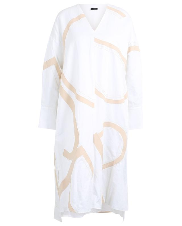 Robe col V oversize graphique en coton et lin Dalamo JOSEPH