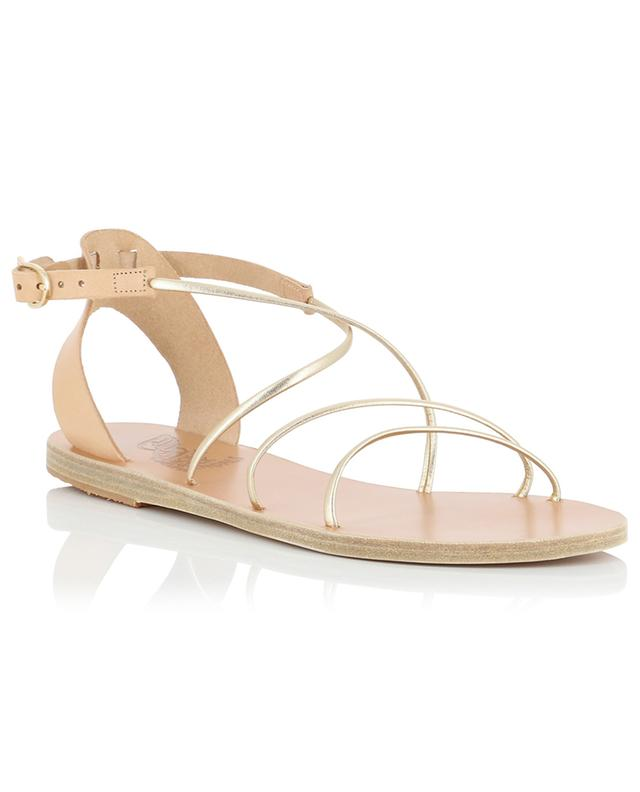 Sandales plates en cuir beige et doré Meloivia ANCIENT GREEK SANDALS