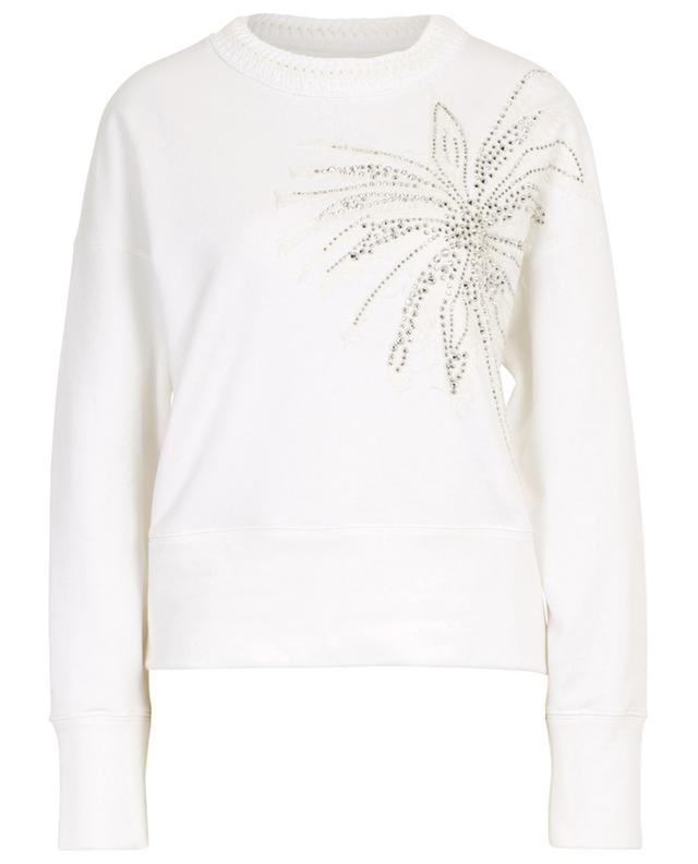 Sweat-shirt en coton mélangé fleur brodée ERMANNO SCERVINO