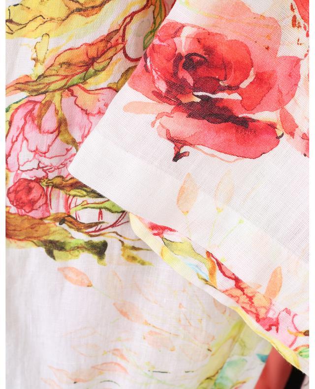 Pantalon large en lin imprimé fleuri 120% LINO