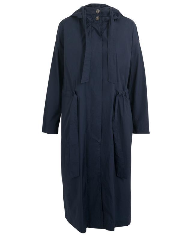 Manteau à capuche léger en tissu technique bleu Globe HERNO