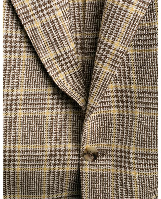 Blazer à carreaux en laine, lin et soie LARDINI