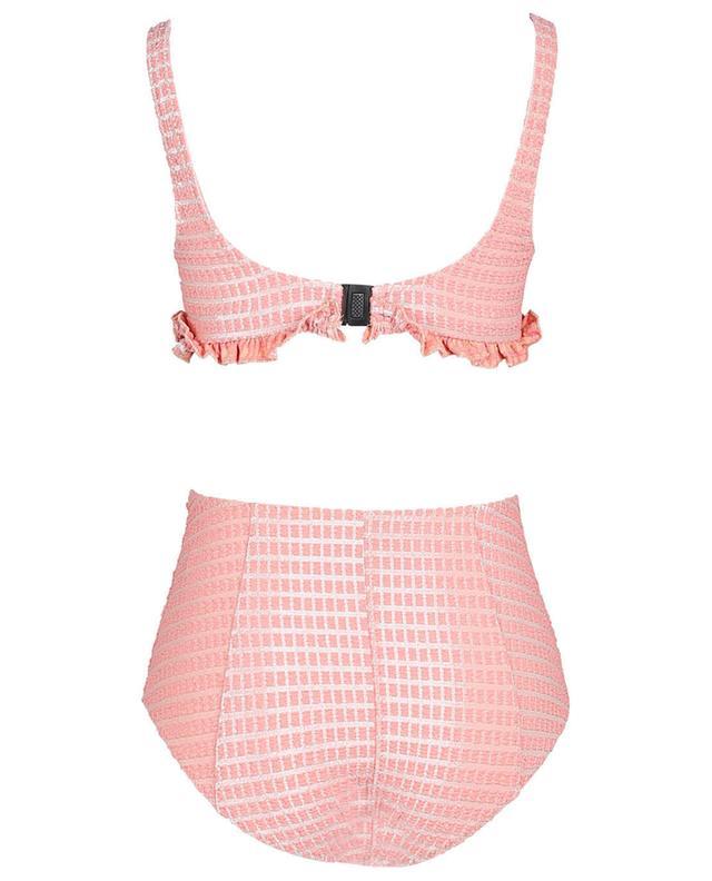 Bikini taille haute en seersucker métallisé Colby Button LISA MARIE FERNANDEZ