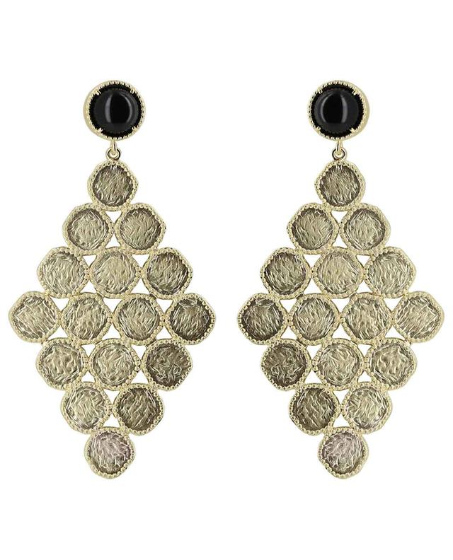 Maia gold plated earrings with black agate COLLECTION CONSTANCE