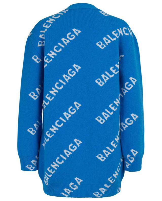 Cardigan ample en laine mélangée Allover Logo BALENCIAGA
