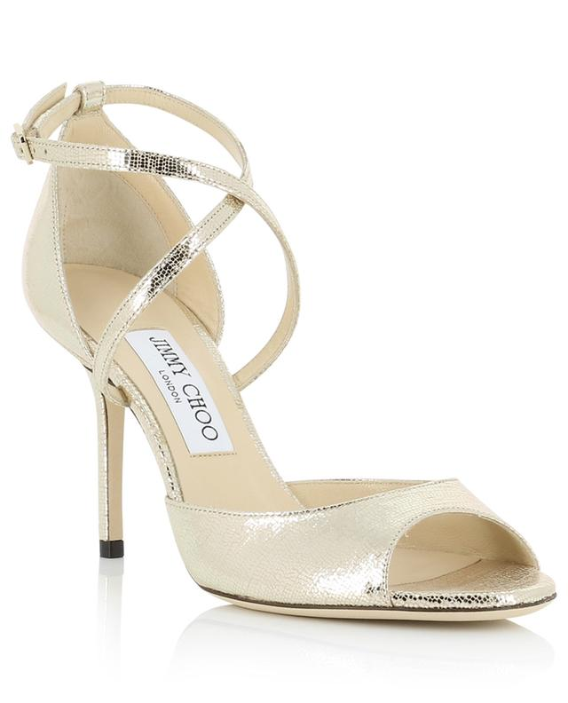 Emsy 85 heeled golden lizard embossed leather sandals JIMMY CHOO
