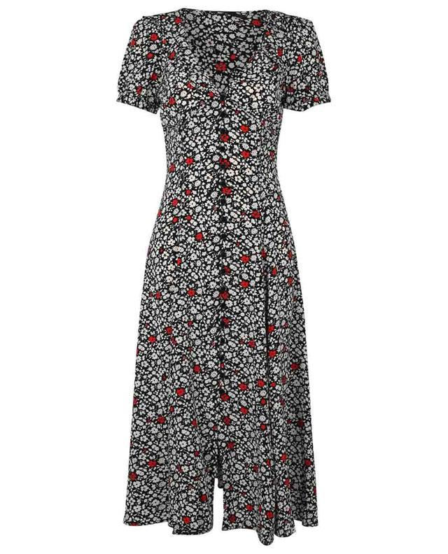 Flared floral viscose crepe dress with ruffled V-neck POLO RALPH LAUREN