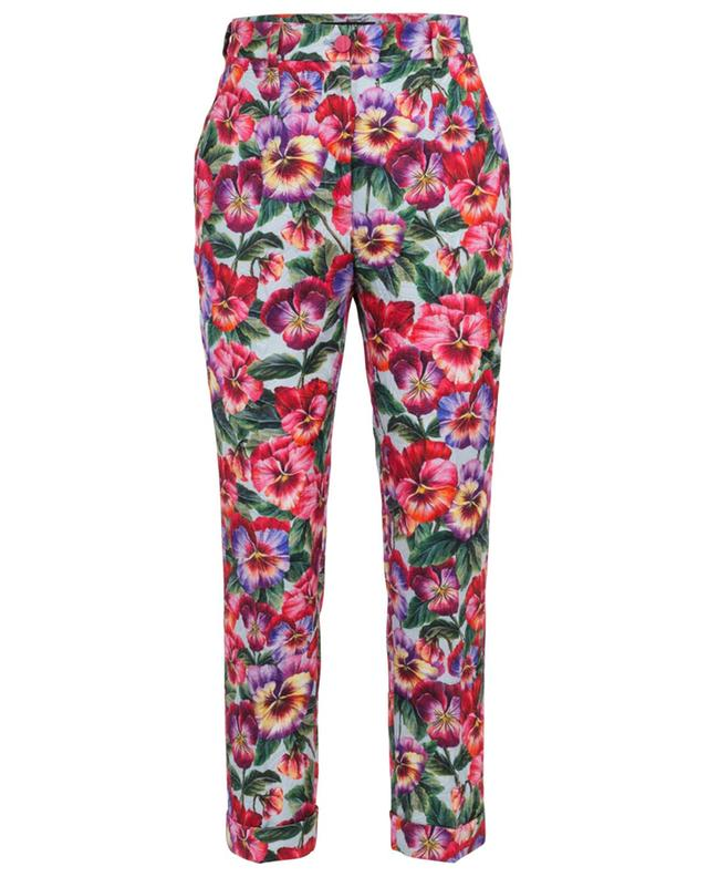 Pantalon jacquard imprimé Violets DOLCE & GABBANA