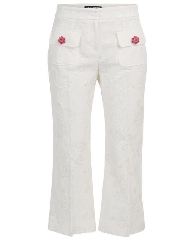 Pantalon jacquard raccourci motif roses DOLCE & GABBANA