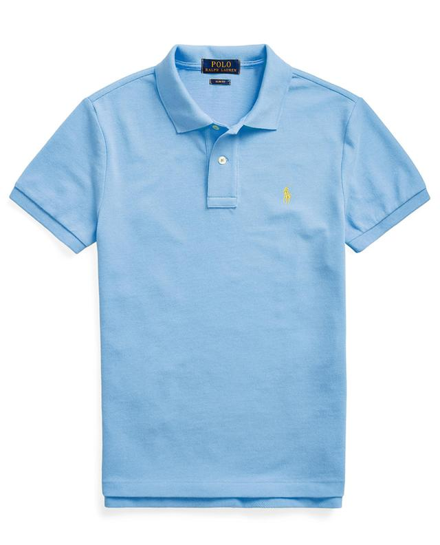 Pony embroidered cotton piqué slim fit polo shirt POLO RALPH LAUREN