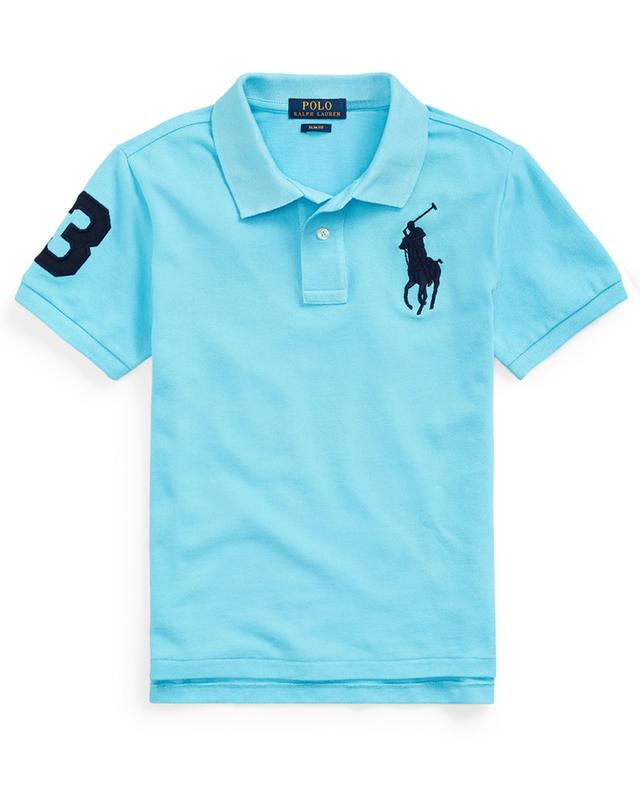 Big Pony and 3 embroidered slim fit cotton piqué polo shirt POLO RALPH LAUREN