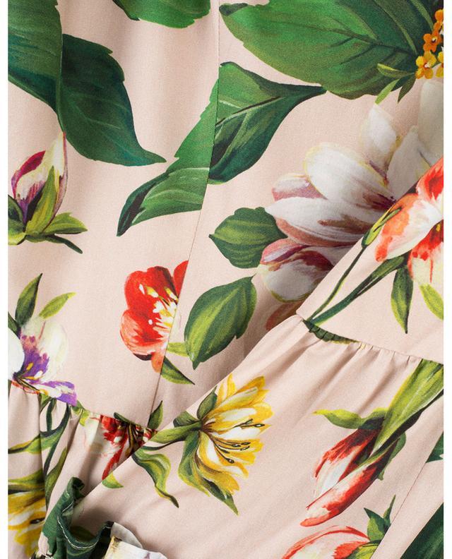 Robe sans manches en coton fleurie à volants DOLCE & GABBANA
