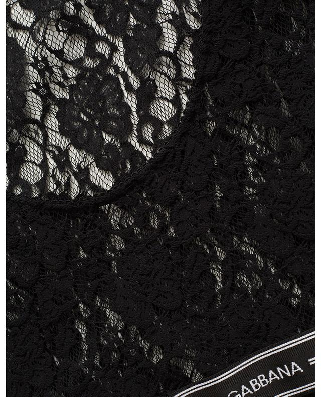 Top manches courtes en dentelle élastique logo DOLCE & GABBANA