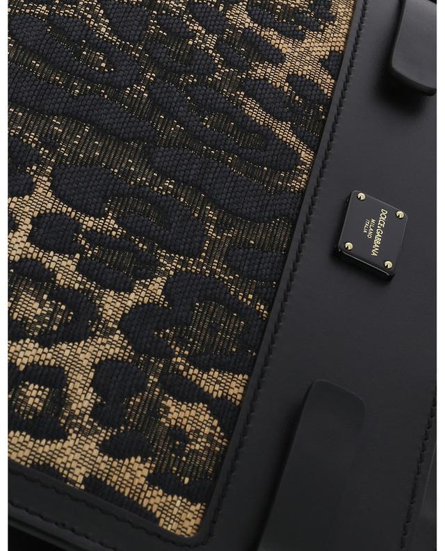 Sac à main en cuir et raphia imprimé léopard Sicily 62 DOLCE & GABBANA