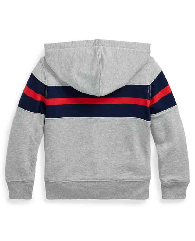 Stripe and logo adorned zippered hoodie POLO RALPH LAUREN