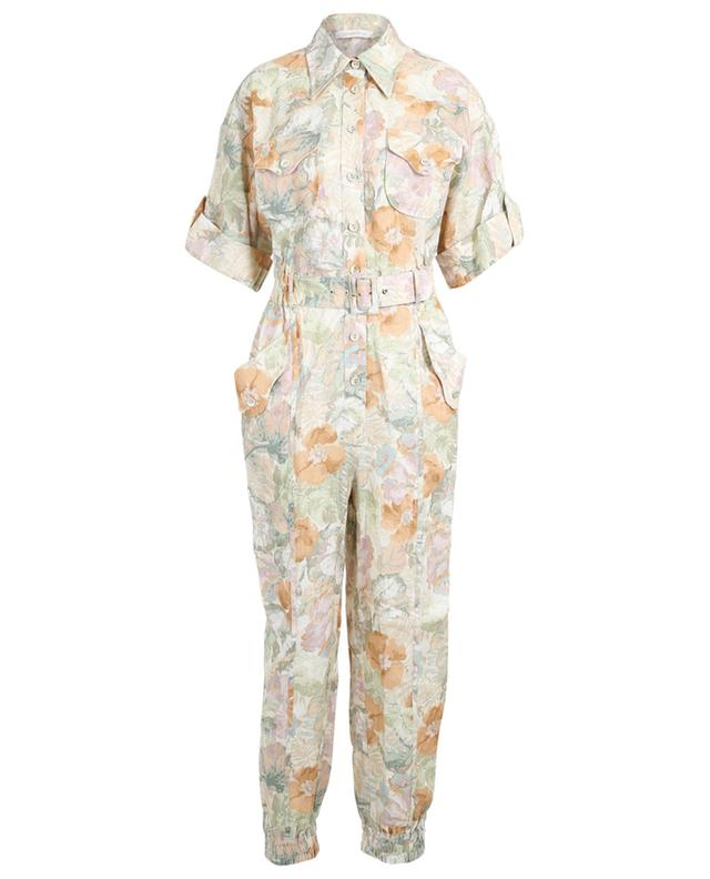 Combi-pantalon en lin fleuri Glassy ZIMMERMANN