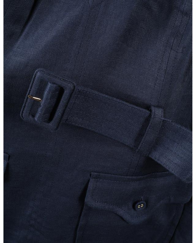 Robe courte en lin à volants avec ceinture Glassy Safari ZIMMERMANN