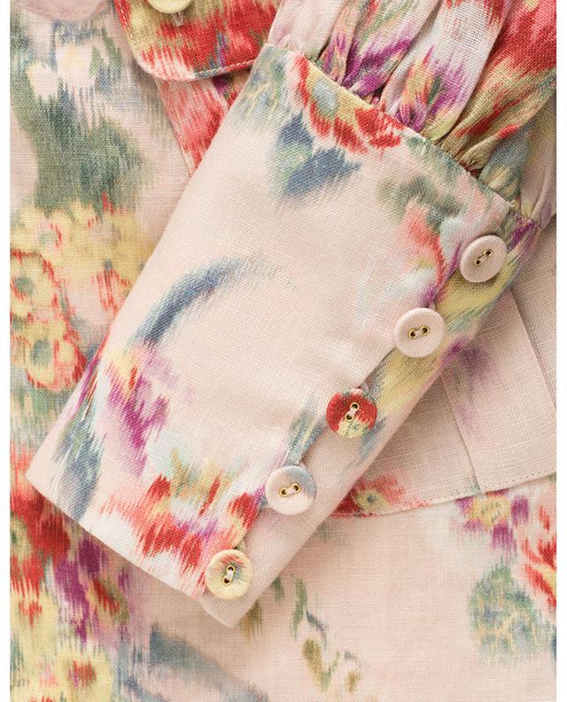 Robe chemise en lin fleuri Wavelength Billow Sleeve ZIMMERMANN