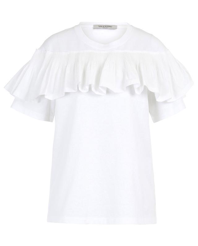 T-Shirt aus Baumwolle mit plissierter Rüsche VALENTINO
