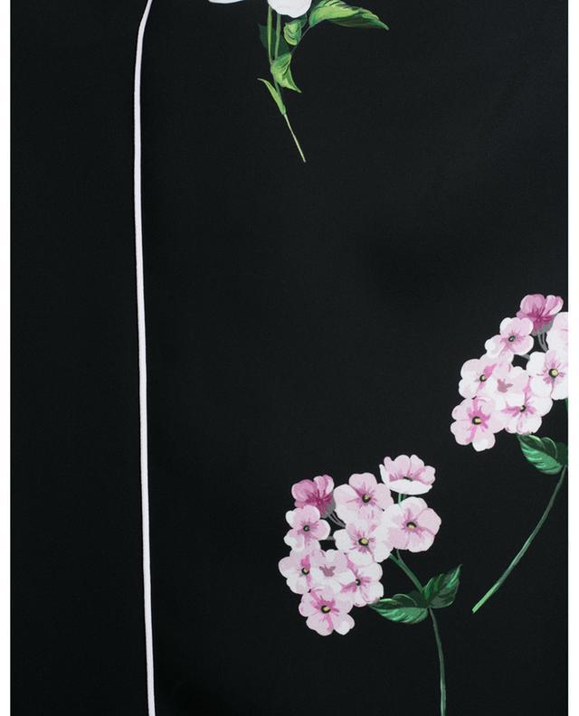 Pantalon droit en crêpe à passepoils et imprimé fleurs N°21