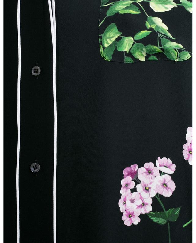 Chemise à manches courtes en crêpe fleurie à passepoils N°21