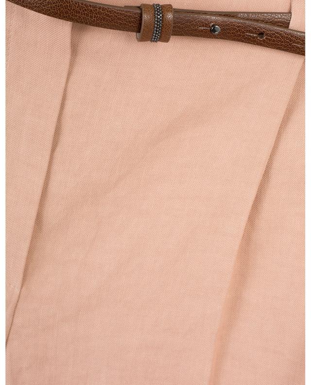 Pantalon à pinces en lin et coton mélangés BRUNELLO CUCINELLI