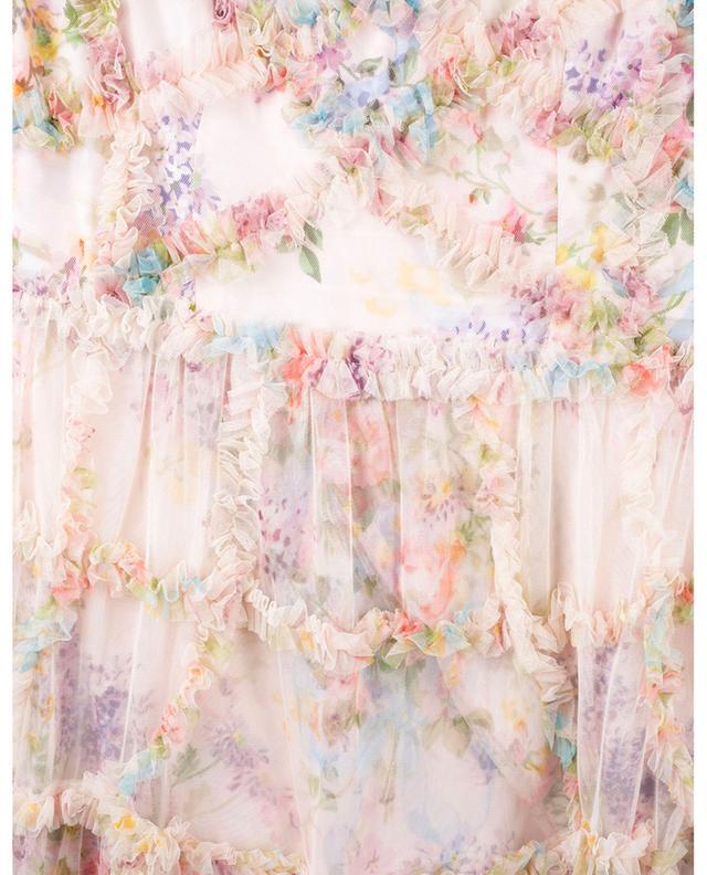 Robe à manches longues en tulle fleuri à volants Diamond NEEDLE &THREAD