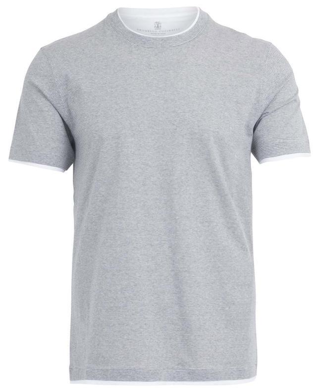 T-shirt rayé en coton et lin BRUNELLO CUCINELLI