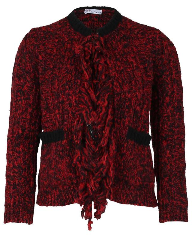 Cardigan droit et court à franges motif Red Girl RED VALENTINO