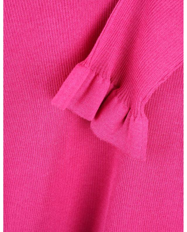 Pull chaussette côtelé à manches trois-quarts volantées RED VALENTINO