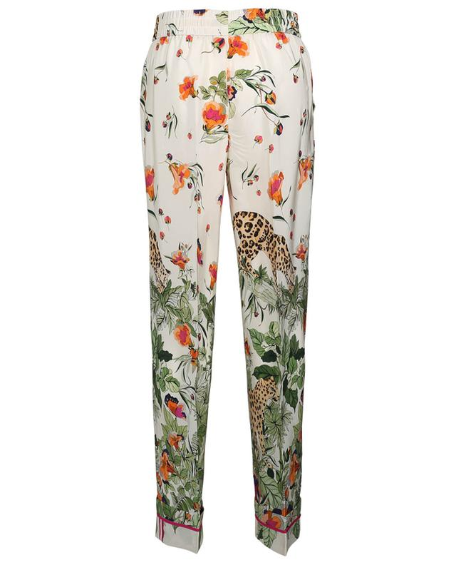 Pantalon large en soie imprimée Felines in the Flower Jungle RED VALENTINO