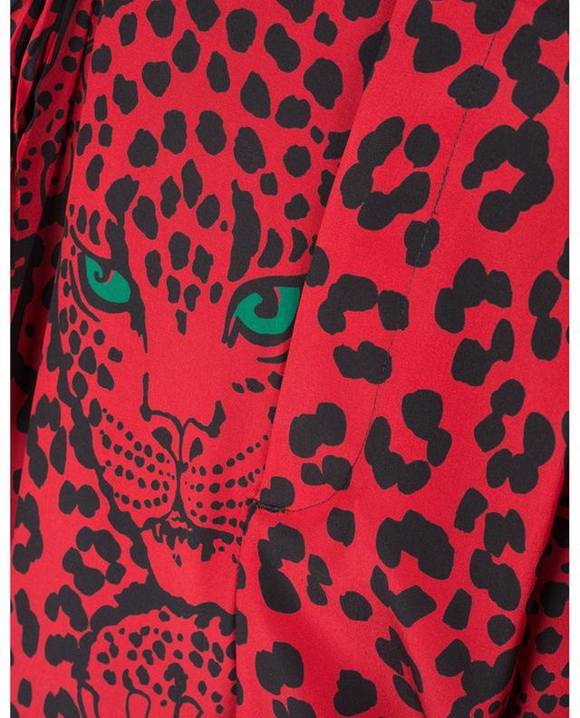 Pantalon carotte taille haute en soie imprimée Leo Panther RED VALENTINO