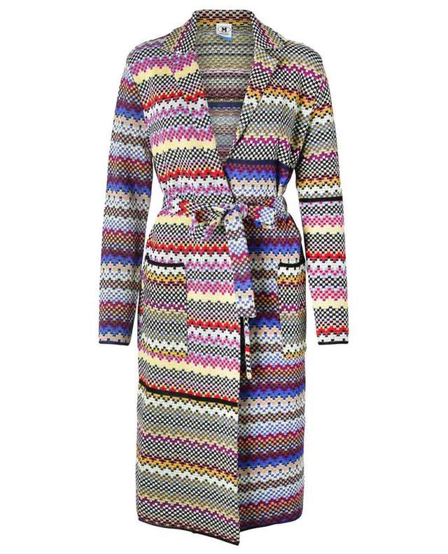 Manteau en maille motif damiers multicolores M MISSONI