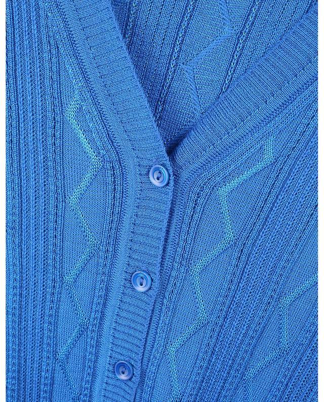 Cardigan fin boutonné en maille zigzags à col V M MISSONI
