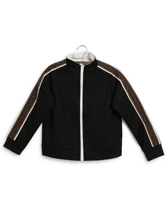 Sweat-shirt zippé garçon en jersey technique bande FF FENDI