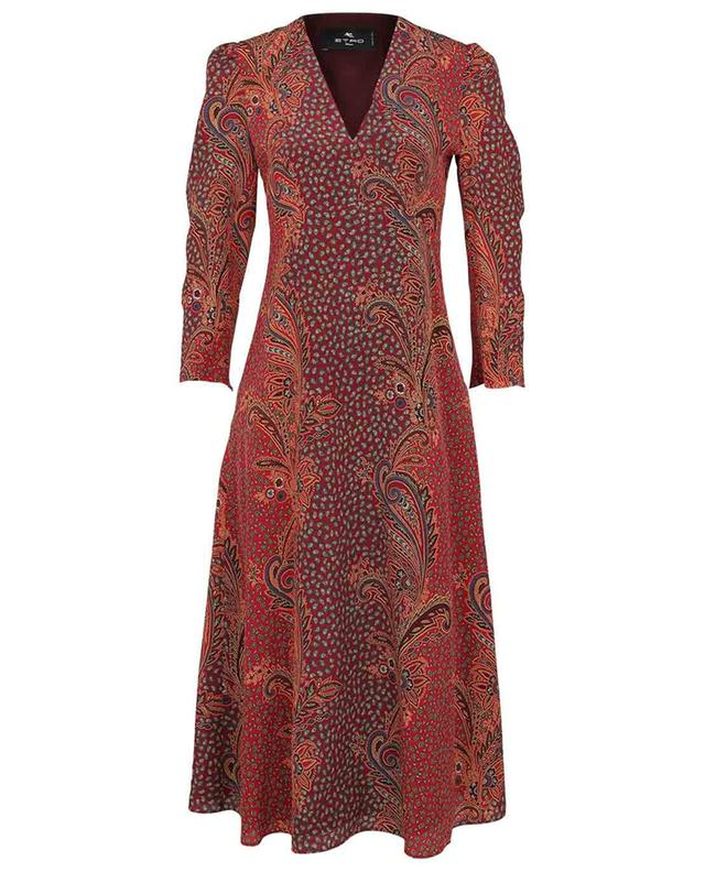Suffolk flared silk midi dress with paisley print ETRO
